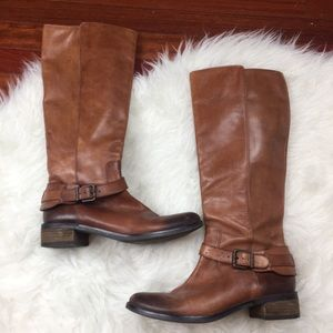 VINCE CAMUTO Cognac Leather Zip Up Boots Strap 8